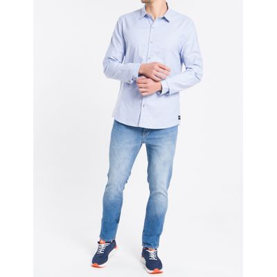 Camisa Ml Slim F Liso S Bols Amac Oxford - Azul Médio