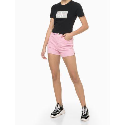 Blusa Feminina Logo Central Preta Calvin Klein Jeans