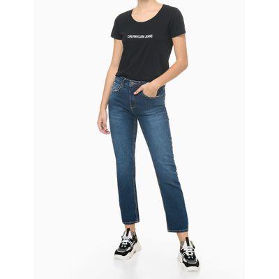 Blusa Feminina Básica Slim Logo Preta Calvin Klein Jeans