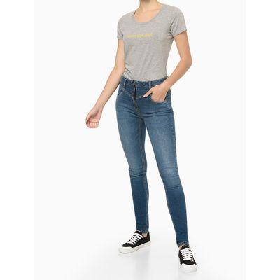 Blusa Feminina Básica Slim Logo Cinza Mescla Calvin Klein Jeans