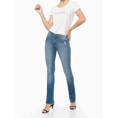Blusa Feminina Básica Slim Logo Branca Calvin Klein Jeans