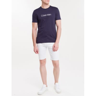 Camiseta Slim Básica Flamê Calvin Klein - Marinho