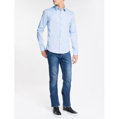 Camisa ML Slim Liso - Azul Claro