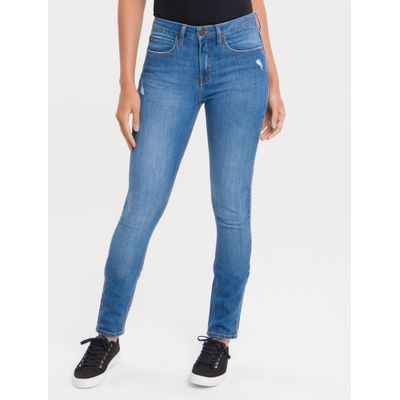 Calça Jeans Feminina Five Pockets Skinny Cintura Média Azul Médio Calvin Klein
