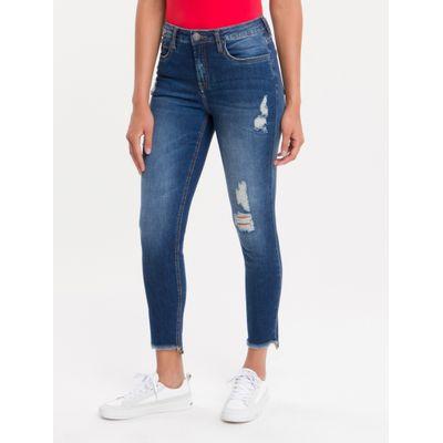Calça Jeans Feminina Five Pockets Super Skinny Cintura Média Azul Marinho Stone Calvin Klein