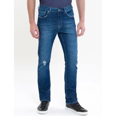 Calça Jeans Masculina Five Pockets Slim Reta Cintura Regular Azul Médio Calvin Klein