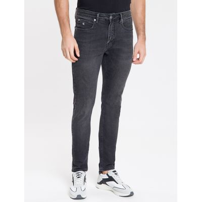 Calça Jeans Masculina Six Pockets Skinny Cintura Baixa Preta Calvin Klein