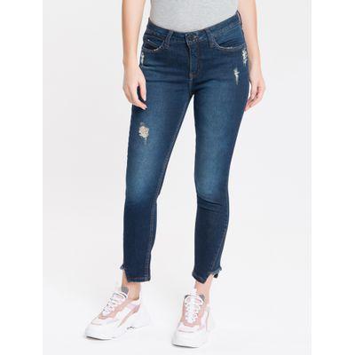 Calça Jeans Feminina Five Pockets Skinny Cintura Média Azul Marinho Calvin Klein