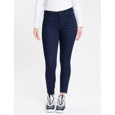 Calça Jeans Feminina Five Pockets Super Skinny com Stretch Cintura Média Azul Marinho Calvin Klein