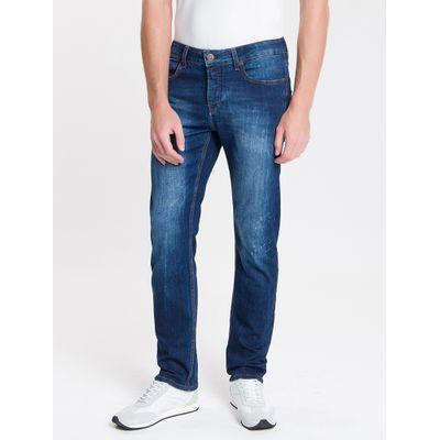 Calça Jeans Masculina Five Pockets Slim Destroyed Cintura Baixa Azul Marinho Calvin Klein