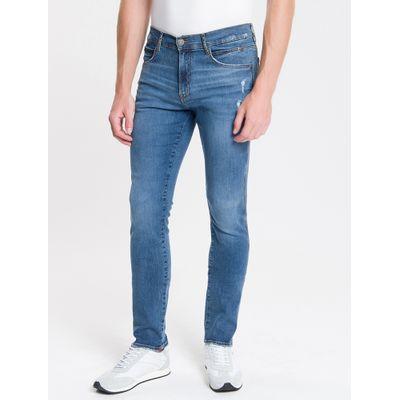 Calça Jeans Masculina Skinny Sculpted Used Cintura Baixa Azul Médio Calvin Klein