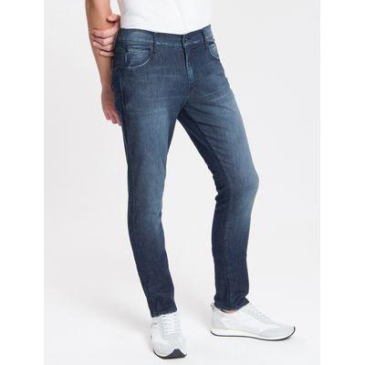 Calça Jeans Masculina Skinny Sculpted Cintura Baixa Azul Marinho Calvin Klein