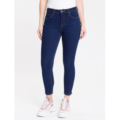 Calça Jeans Feminina Five Pockets Super Skinny Barra Lateral Cintura Média Azul Marinho Calvin Klein