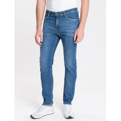 Calça Jeans Masculina Five Pockets Slim Amassado Cintura Baixa Azul Médio Calvin Klein