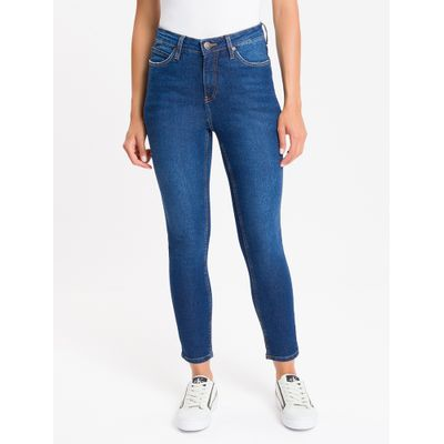Calça Jeans Feminina Five Pockets Skinny Cintura Alta Azul Médio Calvin Klein