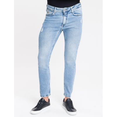 Calça Jeans Masculina Five Pockets Skinny Cintura Baixa Azul Claro Calvin Klein