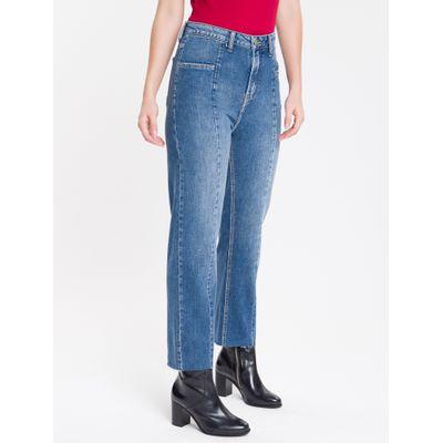 Calça Jeans Feminina Five Pockets Reta Cintura Alta Azul Médio Calvin Klein