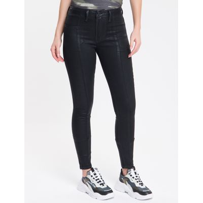 Calça Jeans Feminina Five Pockets Super Skinny Cintura Média Preta Calvin Klein