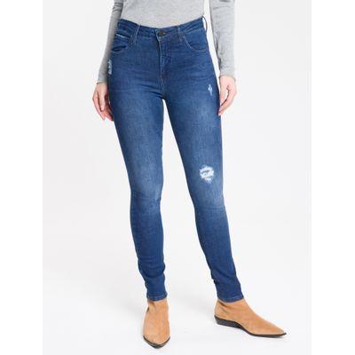 Calça Jeans Feminina Five Pockets Body Skinny Cintura Alta Azul Marinho Calvin Klein