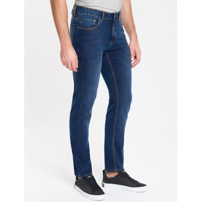 Calça Jeans Masculina Five Pockets Reta Cintura Baixa Azul Marinho Calvin Klein