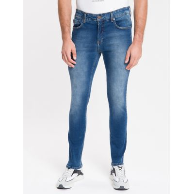 Calça Jeans Masculina Five Pockets Body Skinny Cintura Baixa Stone Azul Marinho Calvin Klein