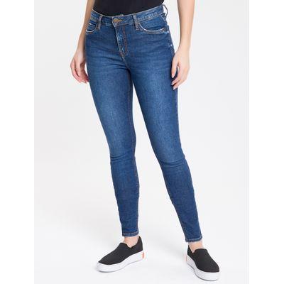 Calça Jeans Feminina Super Skinny com Premium Stretch Cintura Média Azul Marinho Calvin Klein