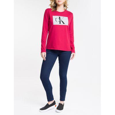Calça Jeans Feminina Five Pockets Skinny Stone Cintura Média Azul Marinho Calvin Klein