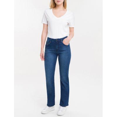 Calça Jeans Feminina Five Pockets Reta Cintura Média Azul Marinho Calvin Klein