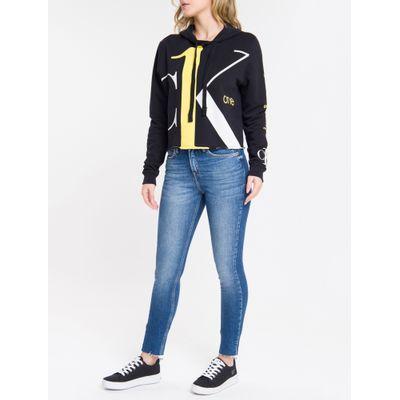 Calça Jeans Feminina Six Pockets Skinny Cintura Alta Azul Marinho Calvin Klein