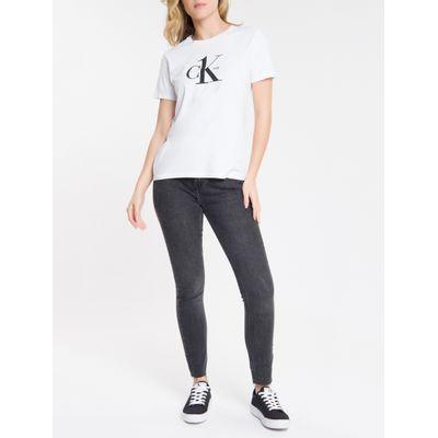 Calça Jeans Feminina Six Pockets Skinny Cintura Alta Preta Calvin Klein