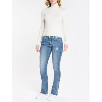 Calça Jeans Feminina Five Pockets Kick Flare Cintura Média Azul Claro Calvin Klein
