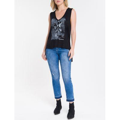 Calça Jeans Feminina Five Pockets Slim Stone Cintura Alta Azul Médio Calvin Klein