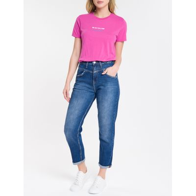 Calça Jeans Feminina Mom Cintura Super Alta Azul Médio Calvin Klein