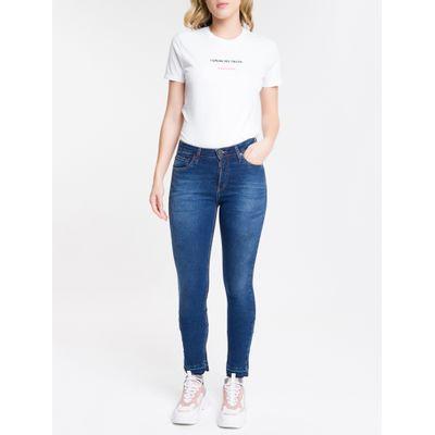 Calça Jeans Feminina Five Pockets Slim Cintura Média Azul Marinho Calvin Klein