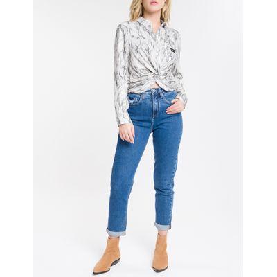 Calça Jeans Feminina Mom Cintura Super Alta Azul Marinho Calvin Klein
