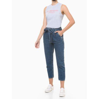 Calça Jeans Feminina Balloon Cintura Média Azul Médio Calvin Klein