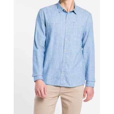 Camisa Ml Slim Liso Indigo C Bols Delave - Azul Médio