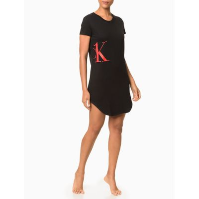 Vestido Moletinho Ck One Camo Loungewear - Preto