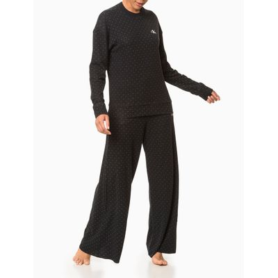 Calça Pantalona Malha Jacquard Pingos - Preto