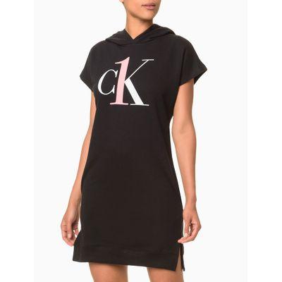 Vestido Moletom Feminino CK One Preto Loungewear Calvin Klein