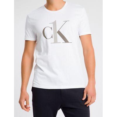Camiseta Masculina CK One Branca Logo Cinza Loungewear Calvin Klein