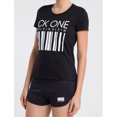 Camiseta Feminina CK One Barcode Preta Loungewear Calvin Klein