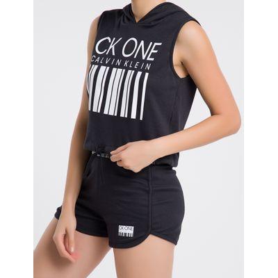 Moletom Feminino Regata com Capuz CK One Barcode Preto Loungewear Calvin Klein