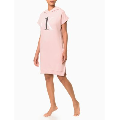 Vestido Moletom Feminino CK One Rosa Claro Loungewear Calvin Klein