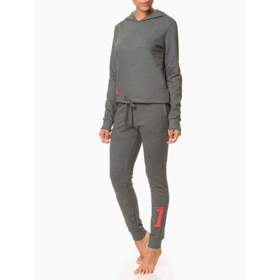 Moletom Feminino com Capuz Cropped CK One Cinza Mescla Loungewear Calvin Klein