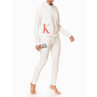 Moletom Feminino com Capuz Cropped CK One Nude Loungewear Calvin Klein