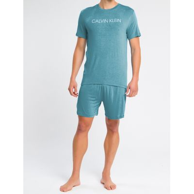 Pijama Masculino Manga Curta e Bermuda Azul Médio Calvin Klein