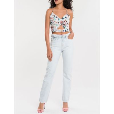 Top S/M Micro Flowers Off - Off White