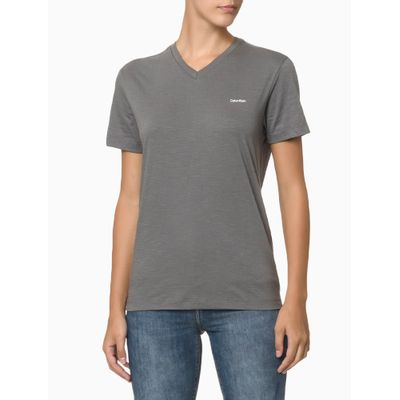 Camiseta Slim Flamê Gola V Calvin Klein - Grafite
