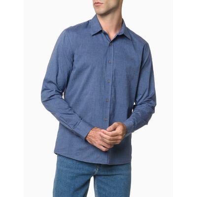 Camisa Ml Reg F Liso S Bols Amac Fil - Azul Médio